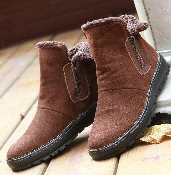 Mens suede leather warm snow fur lined zip up chukka ankle boots casual shoes