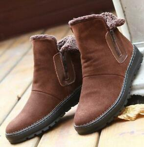 mens suede leather warm snow fur lined zip up chukka ankle