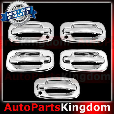 00-06 Chevy Tahoe Chrome Mirror+4 Door handle+NO Passenger KH+Tailgate+Gas Cover