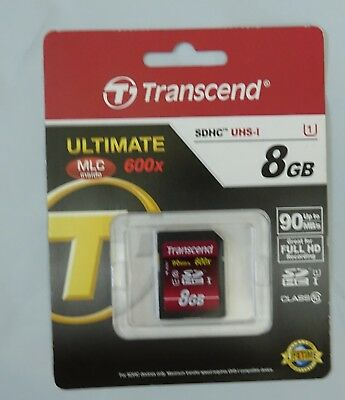 Transcend 8 GB High Speed Class 10 UHS Flash Memory Card TS8GSDHC10U1 85//22 MB//s