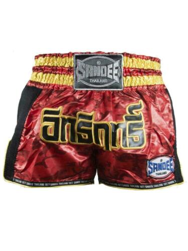 Sandee Muay Thai Boxing Shorts Supernatural Power Red Carbon Gold Black