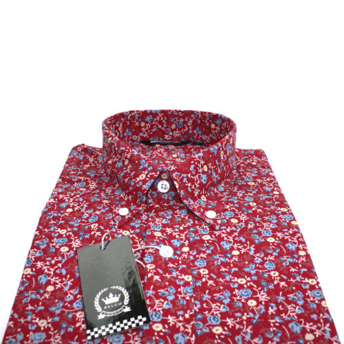 Relco Mens Red Floral Long Sleeved Shirt Mod Skin Retro Indie Vintage 60s NEW