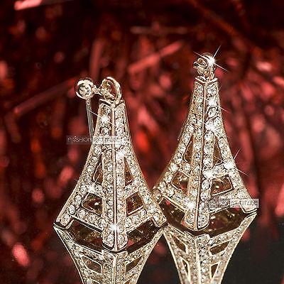 18k rose gold gp made with SWAROVSKI crystal Eiffel Tower stud earrings