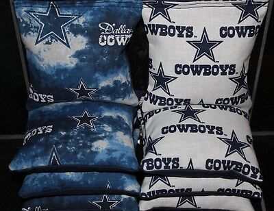 4 ALL WEATHER CORNHOLE BEANBAGS made w DALLAS COWBOYS Fabric ACA Reg Bags