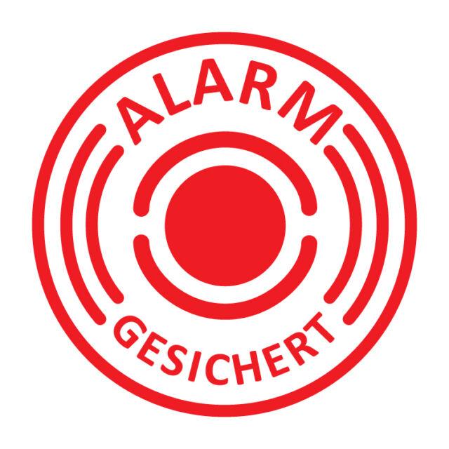 6 Stück Aufkleber Alarmgesichert, Digitaldruck, 40mm Durchmesser