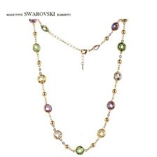 New Made With Swarovski Crystal Multi Coloured Tennis Necklace Pendant Jewellery