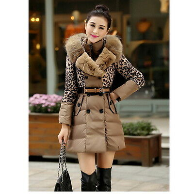 Women Winter Down Cotton Long Fur Collar Hooded Coat Jacket Parka Luxury Belt