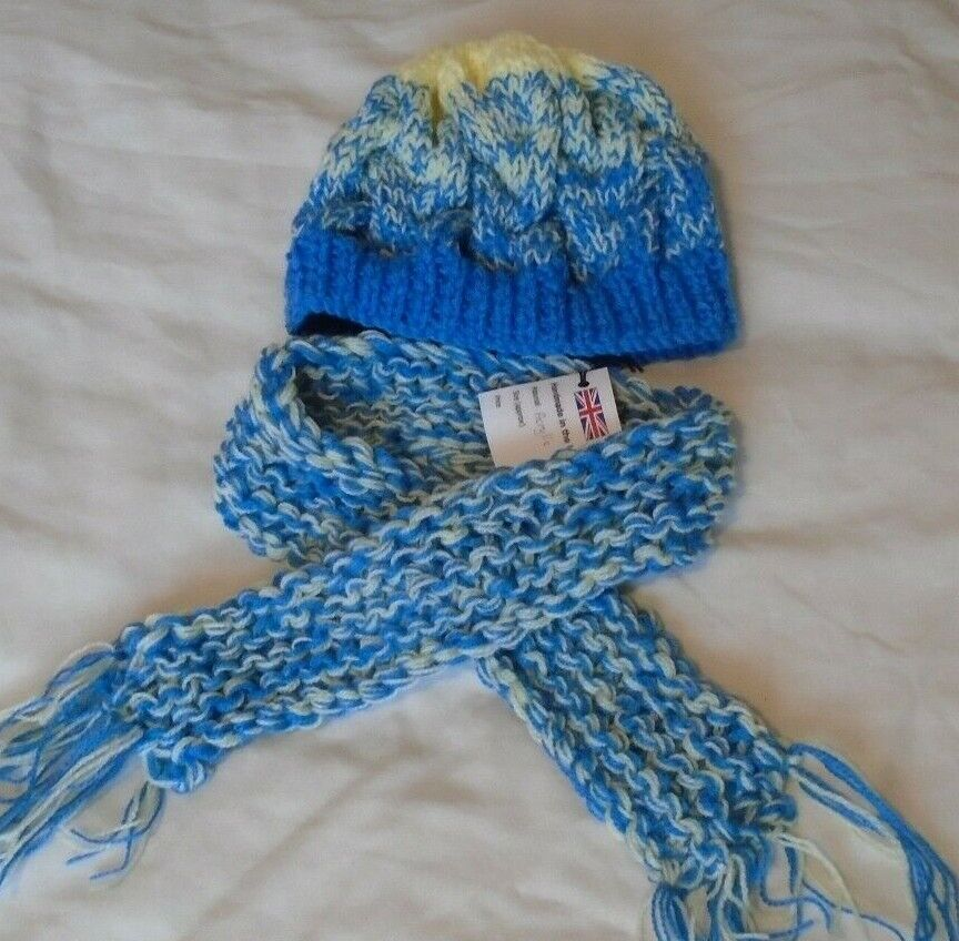 Hat and mini scarf set in blue and yellow acrylic yarn. Hand knitted with love.