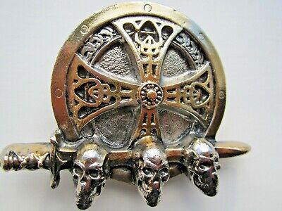 Angemessen Viking Shield Sword And Skulls Belt Buckle Norse Raiders.thor Odin.