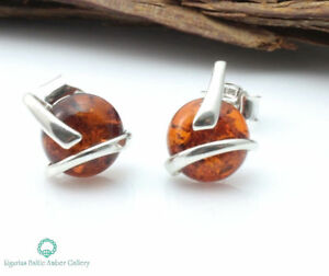 NATURAL-BALTIC-AMBER-STERLING-SILVER-925-Earrings-Stud-Certified-amp-Box