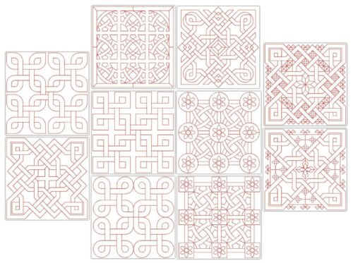 """Quilt Block-Machine embroidery designs  4/""""X4/"""" /& 5/""""X7/"""" hoops DUOMI-E9003"""