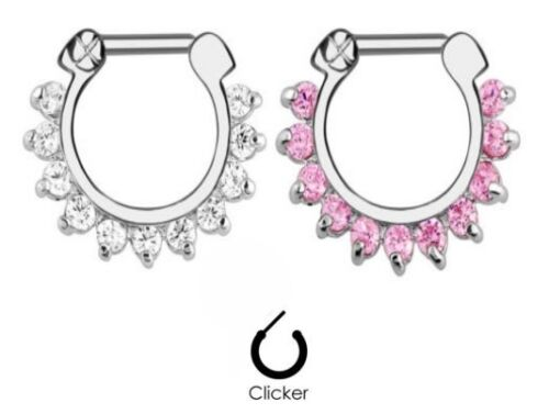 1pc 11 GEM Septum Clicker 316L Surgical Steel 14g Nose Ring Pink CLEAR NIPPLE 14