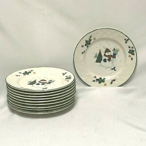 10-MIKASA-ENGLISH-COUNTRYSIDE-WHITE-WINTER-SCENE-LUNCH-SALAD-DESSERT-PLATES