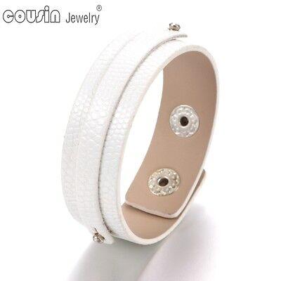 White PU Leather DIY Charms Bracelet&Bangle Jewelry Fit 18mm Snap Button SZ0370b