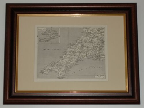 Print 100 years old Map of Cornwall x also available unframed