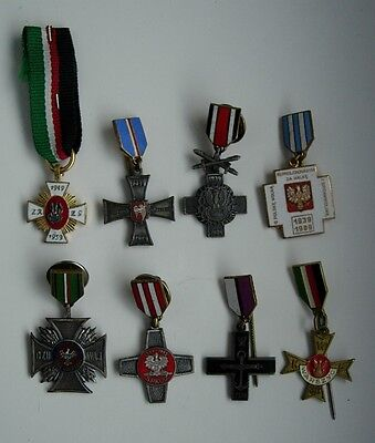 8 POLISH POLAND  WWII CROSS MEDAL ORDER mini SIZE LOT SET rare