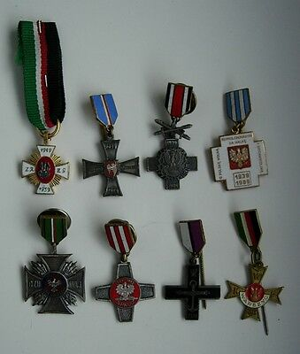 8 POLISH POLAND  WWII CROSS MEDAL ORDER mini SIZE LOT SET rare