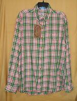 Vintage 1946 Men Pink Green Brushed Cotton Check Button Shirt Collar Pocket $95