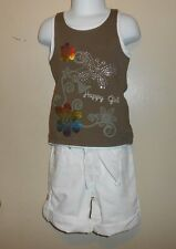 The Childrens Place Girls Denim Shorts White + Embellished Tank Top Brown 4 NWT