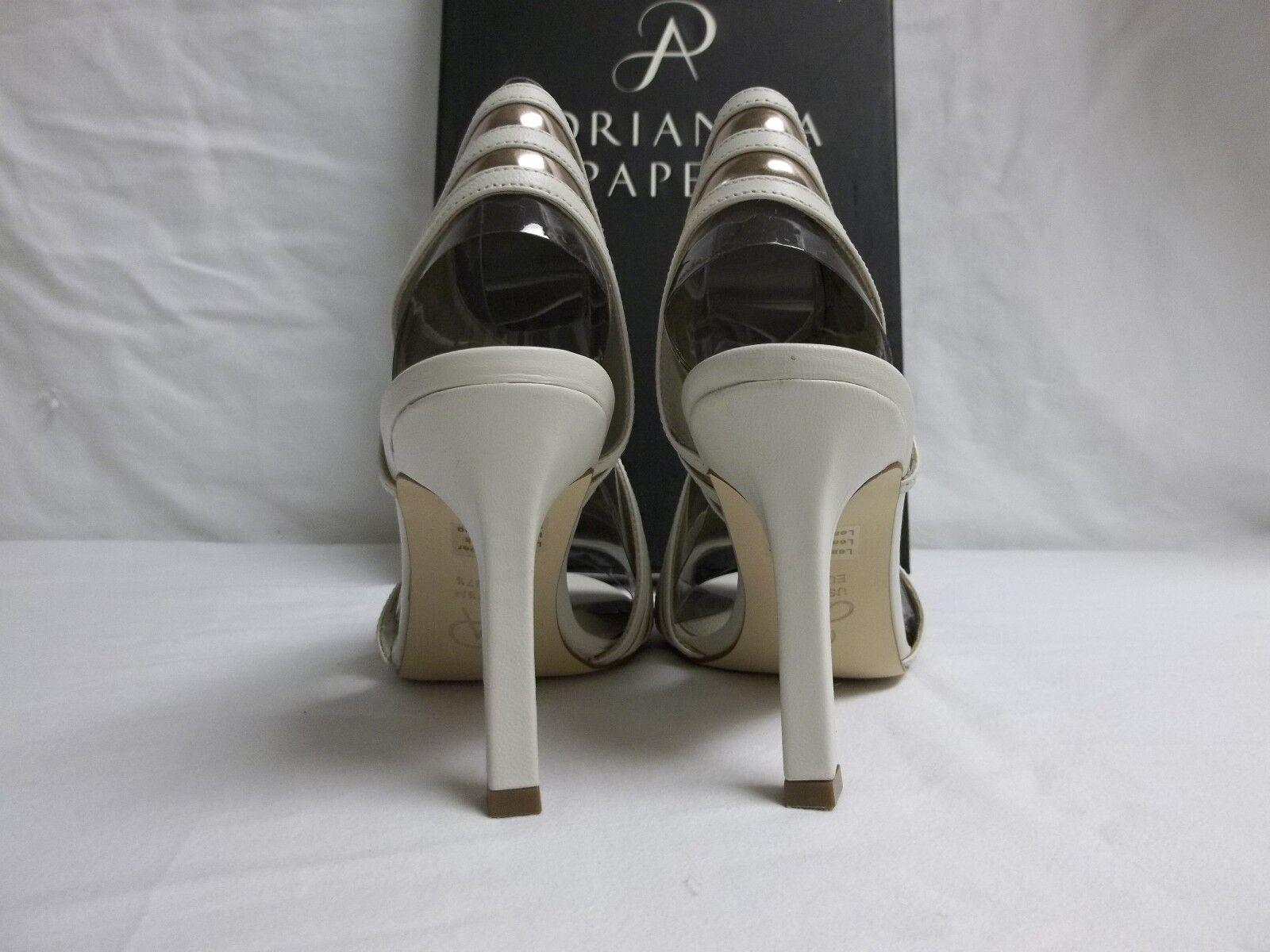 Adrianna Papell Sz 8 M Edison Vanilla Leder Open Toe Heels NEU Damenschuhe Schuhes