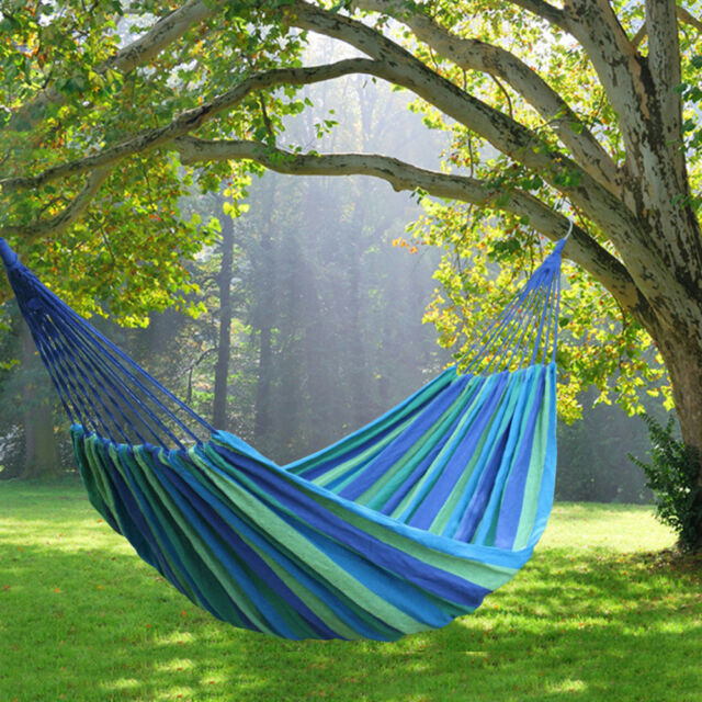 Portable Hammock Canvas Camping Bed Garden Back Yard Outdoor Travel Swinging