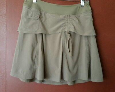ATHLETA Wherever Skirt  Skort  Built in shorts Pull On, Tan, Sz 4