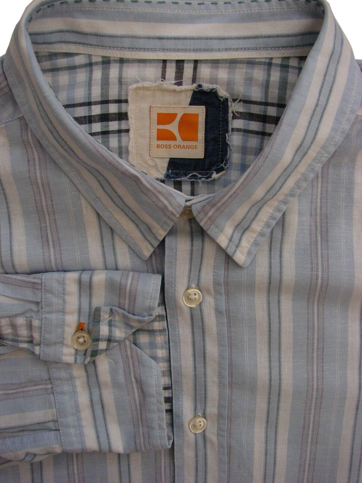 HUGO BOSS Orange Shirt Mens 17 XL Light Blau - Weiß & Multi-Colourot Stripes     | Praktisch Und Wirtschaftlich  | Genialität  | Praktisch Und Wirtschaftlich