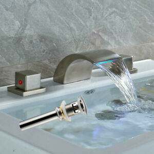 LED-Waterfall-Spout-Bathroom-Basin-Faucet-Brushed-Nickel-Sink-Mixer-Tap-W-Drain