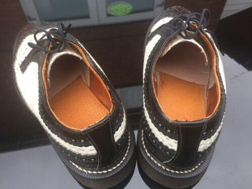 Negro Shoes 41 Made 7 Uk England In 3989 Blanco Martens Vintage Eu Brogue Dr HtqpUU