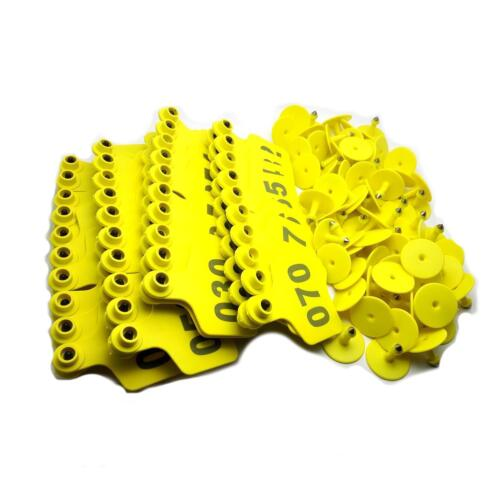 """US Stock 100x Yellow 001-100 Number Plastic Livestock Ear Tag 3/"""" x 2.4/"""" For Cow"""