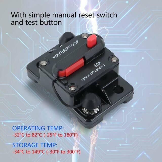 100A 12V-24V 80-300A DC Auto Car Marine Boat Bike Stereo Audio Circuit Breaker Reset Fuse