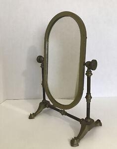 "Antique Brass Oval Mirror Vanity Swivel Tilting Patina Andrea By Sadek 14"" Tall"