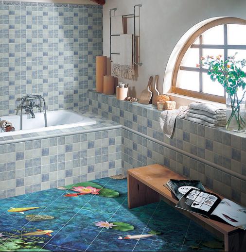 3D Lotus Sea Fishes 734 Floor WallPaper Murals Wall Print Decal AJ WALLPAPER US