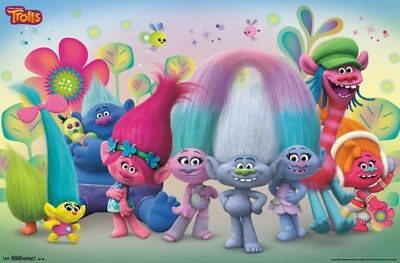 Group Wall Poster ~22x34 inches NEW FREE S//H Trolls