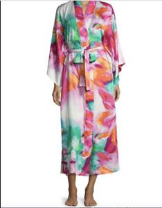 NWT Natori Private Luxuries Long Robe Kimono Paraiso colorful Print L