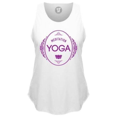 FABTEE Meditation Yoga Om Shanti Loose Tank Top runder Bund Sport Shirt Frauen