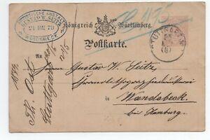 Copieux 1879 Allemagne Entier Wurttemberg Stuttgart Produits De Qualité Selon La Qualité