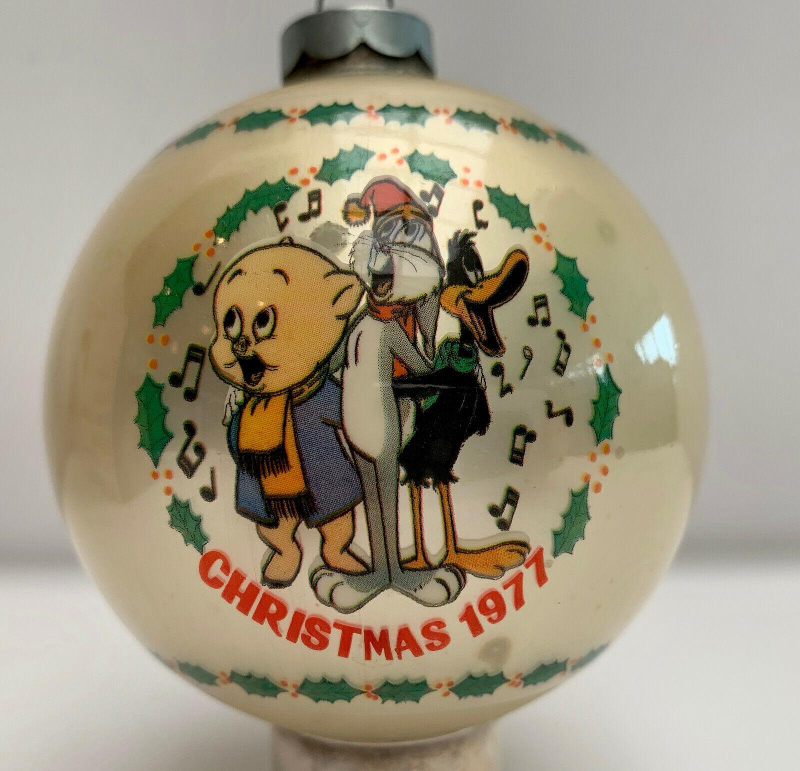 LOONEY TUNES BUGS DAFFY CHRISTMAS 1977 FIRST EDIT GLASS ORNAMENT ORIG BOX VINTAG