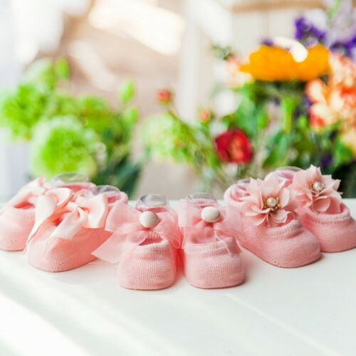 Baby Cotton Socks Anti Slip Lace Flower Bow Tie Floor Newborn Infant Socks