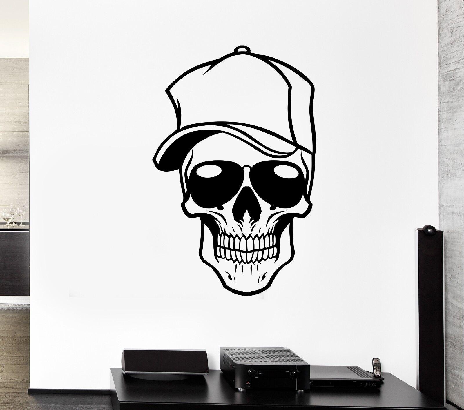 Wall Decal Skull Glasses Cap Skeleton Visor Head Mural Vinyl Stickers (ed064)