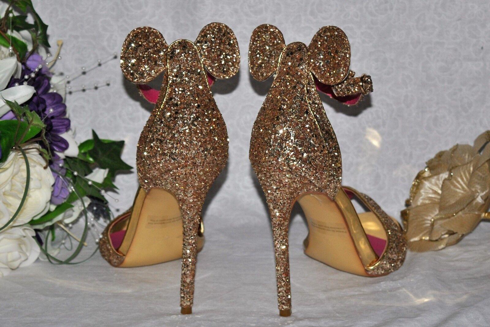 Handmade Gold Glitter Bridal Disney Ear Custom Schuhes. Wedding Bridal Glitter Heels Sandales f74b3e