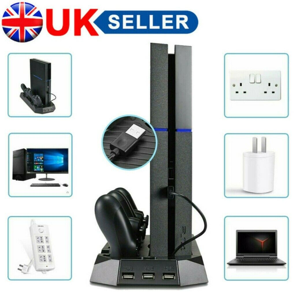 PS4 SLIM Vertical Cooling Stand with Fan & Dual Controller Charging Dock New UK