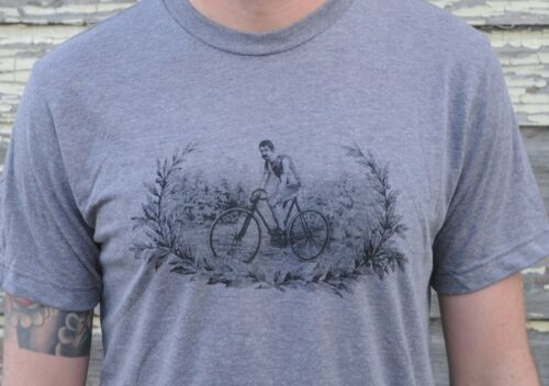 Vintage Track Bicycle Tri Blend T Shirt Retro Antique Fixed Gear Race Bike Fixie