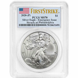 2020-P-1-American-Silver-Eagle-PCGS-MS70-Emergency-Production-FS-Flag-Label