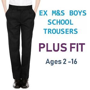 Ex-M-amp-S-Plus-Size-Sturdy-Fit-Boys-Black-School-Trousers-Generous-Fit-Ages-2-16