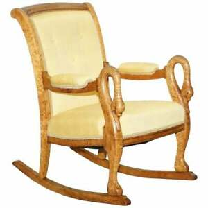 Pleasant Details About Rare Circa 1825 Burr Maple Rocking Armchair With Hand Carved Swan Detailed Arms Ncnpc Chair Design For Home Ncnpcorg