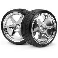 HPI 4704 Mounted Super Drift Tire A Type TE37 Chrome Sprint 2 / E10 / Nitro 3