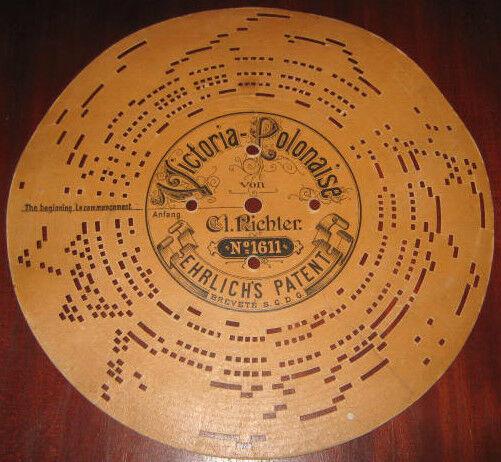 Disco Cartone ACCORDION DISK VICTORIA POLONAISE-VON N° 1611 Organetto Manovella