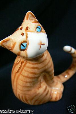 Miniature Genuine Bone China Orange Cat with long tail Figurine