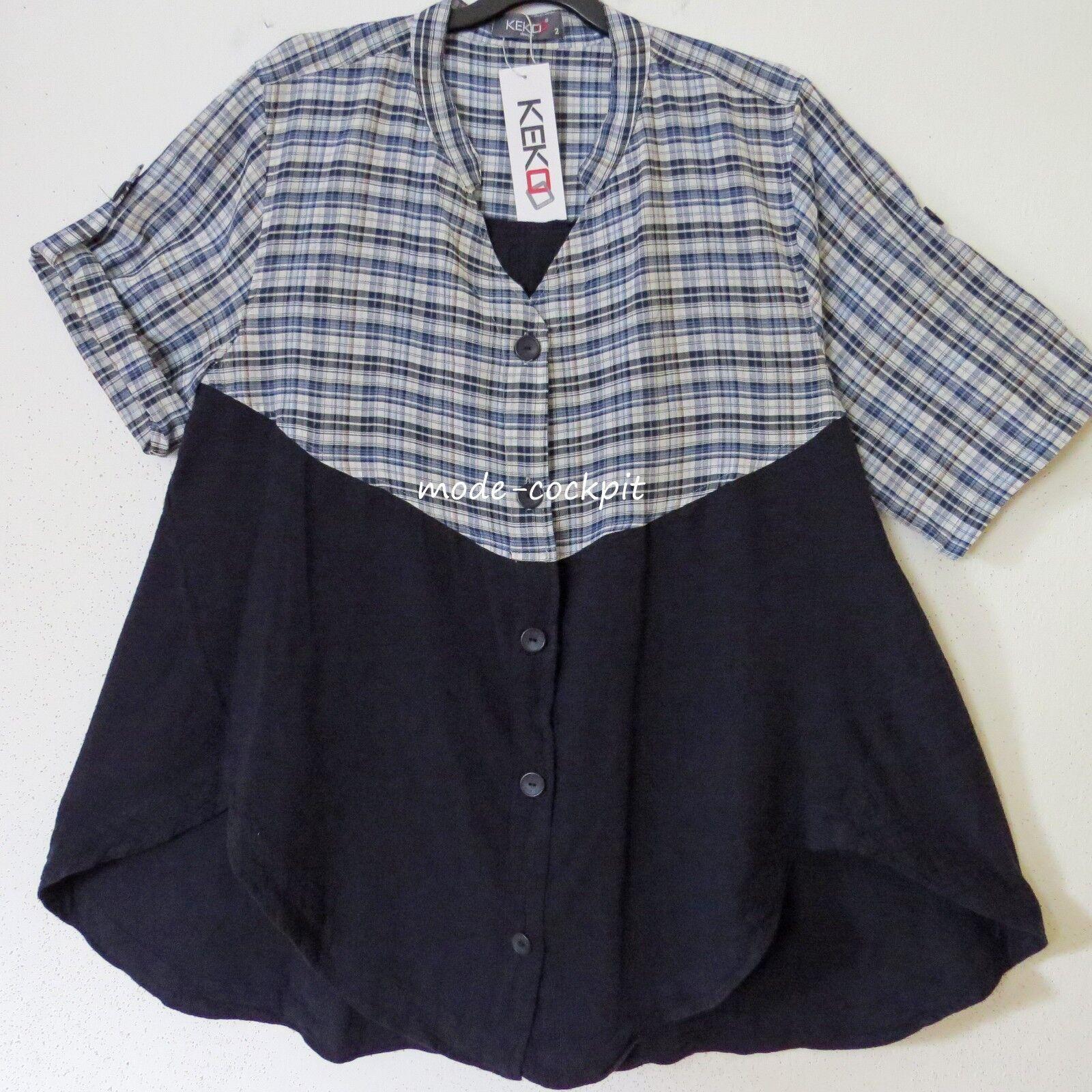 KEKOO lässiges bluesen Shirt Tunika Lagenlook Leinenmix marine + Karo 52-54 (3)